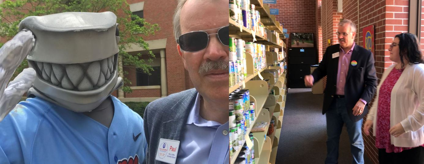 Photos of Paul on campus with Tony the Landshark mascot and in the University of Mississippi Food Bank