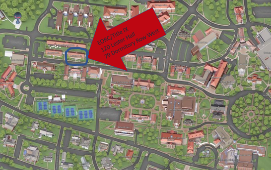 The EO/RC and Title IX Office is located at: 120 Lester Hall.